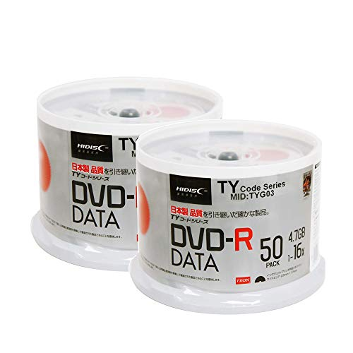 - 100 Spindle HiDisc DVD-R 16X 4.7GB 120Min (Taiyo Yuden TY Code MID TYG03) White Inkjet Hub Printable Blank Recordable Disc