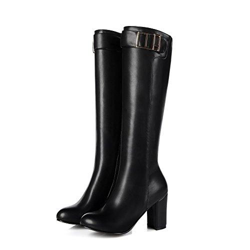 Hoher Rein Reißverschluss Weiches Damen Schwarz Absatz Material VogueZone009 Stiefel gwfHq5
