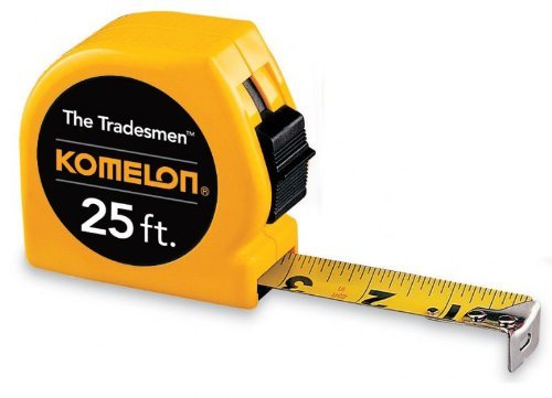 Komleon T3925 The Tradesmen Acrylic Coated Steel Blade Tape Measure 25-Feet by 1-Inch, Yellow Case