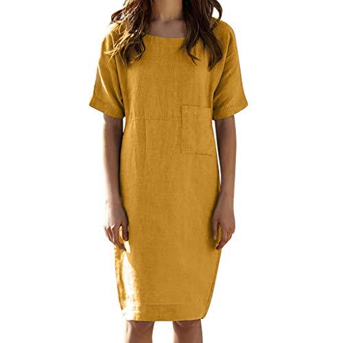 FEDULK Dress for Women Casual Summer Short Sleeve Cotton Linen Plain Swing Beach Sundress Pocket Mini Dress(Yellow, Small)]()