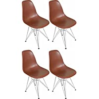 Mod Made Modern Contemporary Paris Tower Side Chair Dining Chair Chrome Leg, Chocolate, Set of 4