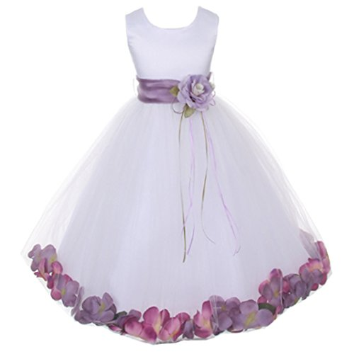 - Little Girls White Sleeveless Satin Bodice Floating Flower Petals Girl Dress with Matching Organza Sash and Double Tulle Skirt - Lavender Set - Size 4