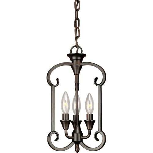 03-32 Traditional 3-Light Foyer Pendant with Antique Bronze Finish, Antique Bronze Finish (Tier Foyer Pendant)