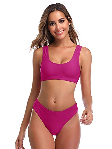 Summer Mae Woman's Two Pieces Bikini Sets Sports Swimsuit Low Top High Waisted High Bottom Rose