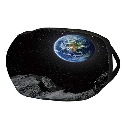 Fashion Cotton Antidust Face Mouth Mask,Galaxy,Planet Earth Rocky Cliffs of Moon Lunar Panorama Art Cosmos Outer Space Print,Blue Black Grey,for women & men for $<!--$9.99-->