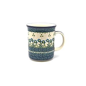 Polish Pottery Mug – Big Straight Sided – Blue Spring Daisy