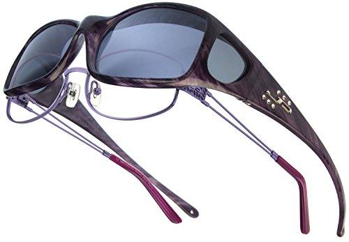 Fitovers Eyewear Aria Sunglasses with Swarovski Crystals (Purple Heart, Polarvue - Jonathan Paul Eyewear Fitovers