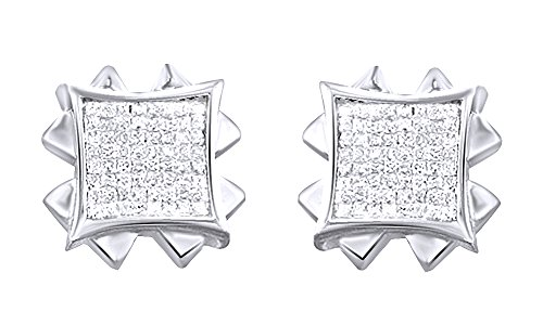 14K White Gold Over Sterling Silver Princess Cut Cubic Zirconia Hip Hop Stud Earrings by wishrocks