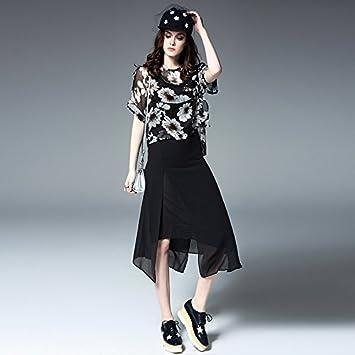 YF-Moda Europea y americana, Vestido estampado elegante (juego de dos) ,