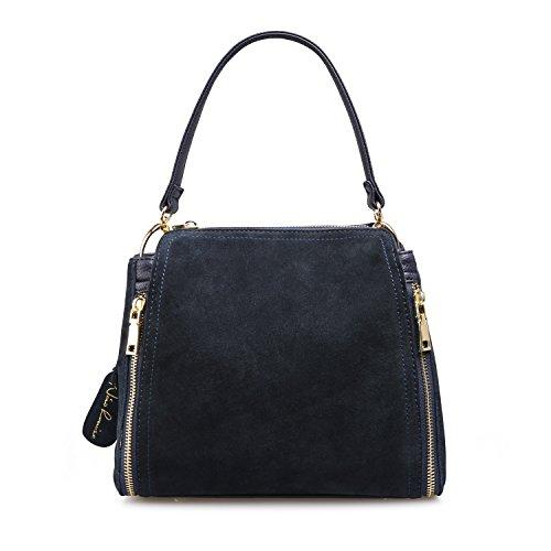 Women Real Suede Leather Shoulder Bag Leisure Doctor Handbag For Female Girls Top-handle (Deep Blue)