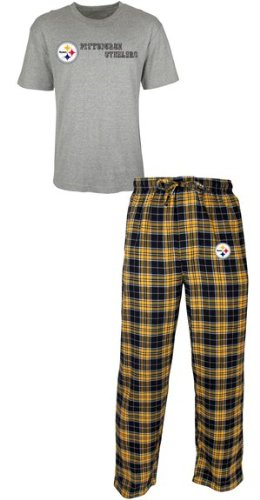 "Pittsburgh Steelers NFL ""Roster"" Men's T-shirt & Flannel Pajama Pants Sleep Set"