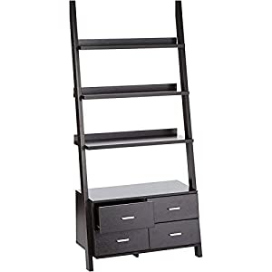 Bowery Hill 4 Shelf Ladder Bookcase in Cappuccino