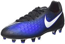 Nike Kids Jr Magista Opus Ii Fg Blackwhite Paramount Blue Soccer Cleat 3.5 Kids Us