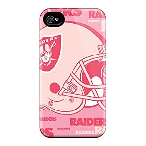 Iphone 4/4s Case Cover - Slim Fit Tpu Protector Shock Absorbent Case (oakland Raiders)