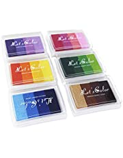 6 Pieces Colorful Gradient Ink Pads for DIY Rubber Stamps Paper Wood Card Making