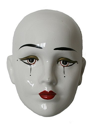 Porcelain Mask Pierrot , White Color with Tear Drops, Size: 5.5