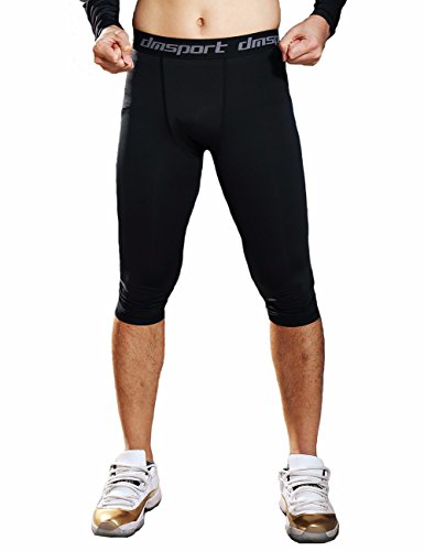 Base Training Running - CFR Men's Cropped Compression Pants Sport Tights Quick Dry Base Layer for Running Cycling Fitness Black,L