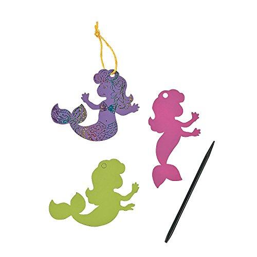 Fun Express Pastel Magic Color Scratch Mermaids - 24 ct ()