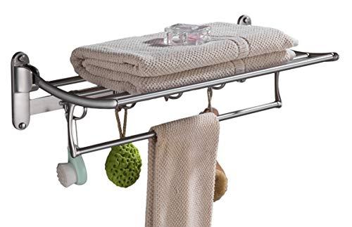 ELLO&ALLO Towel Racks for Bathroom Shelf with Foldable Towel Bar Holder and Hooks Wall Mounted Multifunctional Racks, Brushed Nickel