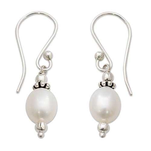 NOVICA Cultured Freshwater Pearl Dangle Earrings with Sterling Silver Hooks, ()