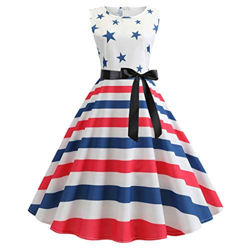 (FORUU American Flag 4th of July Dresses for Womens, Laides Printed Evening Party Prom Swing Button Halter Hepburn Dress Bridesmaid Wedding 1920s Newest Arrivals Trendy Stylish Elegant Cute ...)