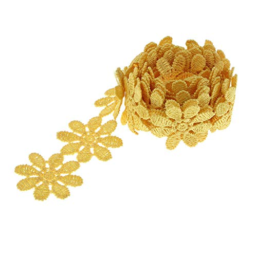 1 Yard Flower Polyester Applique Lace Trim Wedding Dress Sewing Costume 26mm | Color - Yellow (Crochet Pattern Child Poncho)