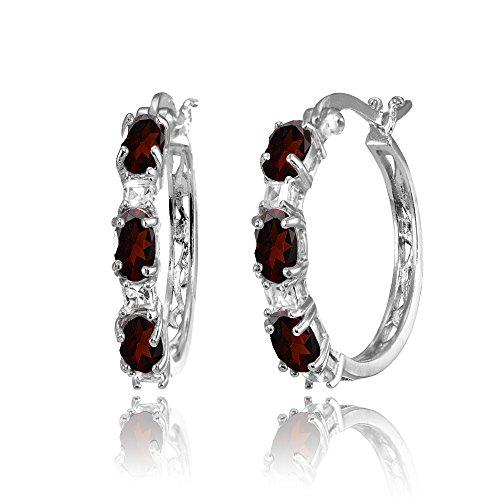 Sterling Silver Oval Garnet & Princess-cut White Topaz Filigree Hoop Earrings