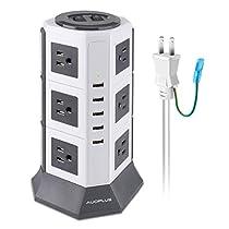 AUOPLUS 延長コード 2m usb コンセント 分岐 テーブルタップ マルチタップ 12個AC口 5USBポート タコ足 タップ 一括スイッチ たこあしコンセント 雷ガード oaタップ タワー式 電源タップ (3段, ホワイト)