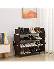 UDEAR Shoe Rack Free Standing Shoe Organizer,4-Tier with Side 8 Shoes Pockets,31.5inches Wide,Brown