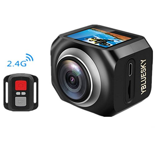 360 degree VR Panoramic Action Camera, YBLUESKY Wireless 1440P H.264 1080P Full HD 16MP 1.5 Inch LCD Screen HDMI Sports Action Video cameras With Remote Controller and IOS APP,Black Action Cameras