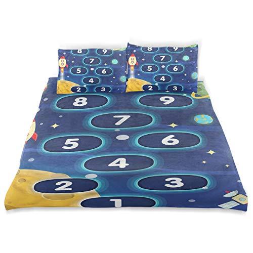 CHASOEA Duvet Cover Set Hopscotch Game Decorative 3 Piece Bedding Set with 2 Pillow Shams Twin - Set Hopscotch Quilt