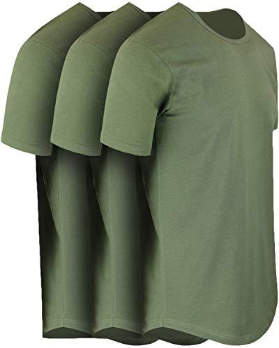 ShirtBANC Mens Hipster Hip Hop Long Drop Tail T Shirts (Military Green 3 Pack, XL) (Yourself Green T-shirt)