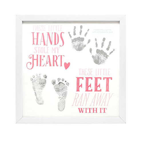 Personalized Baby Canvas - Pink & White Personalized Hands & Feet Wall Décor with Frame and Included Reusable Ink Pad