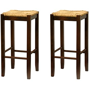Amazon Com Bar Stool 29 Inch Rush Seat Walnut Finish Set