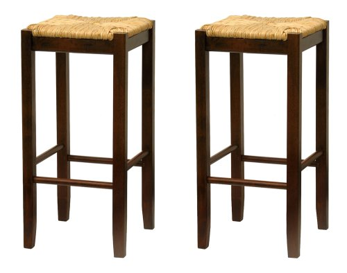 amazoncom bar stool 29inch rush seat walnut finish set of 2 kitchen u0026 dining