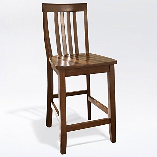 - Crosley Furniture CF500324-CH Schoolhouse Bar Stool (Set of 2), 24-inch, Classic Cherry