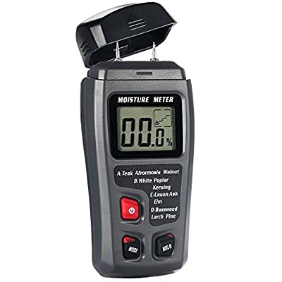 Digital Moisture Meter, 4 Calibrated wood groups Wood Moisture Detector, 2 pins Wood Portable Moisture Tester Water, HD Digital LCD Display with one 9V Battery(Included) Range 0% - 99.9%