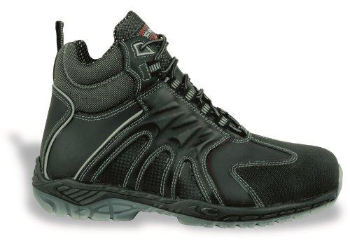Zapato de seguridad S3Src Back mano Cofra Seguridad Botas de trabajo (piel aluminio Tapa mediante la protección Negro negro