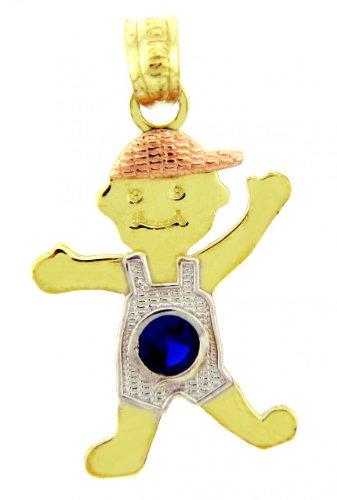10 ct 471/1000 - Garcon Trois Ton Or Pierre de Naissance Charme w / Bleu Oxyde de Zirconium SaphirPendentif (Livre Avec un 45 cm Chaine)