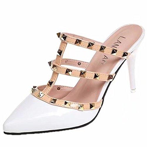 Bianco Aperte Donna sulla AIYOUMEI Caviglia wR47qxwU