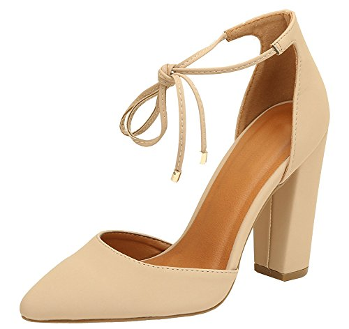 Cambridge Select Women's D'Orsay Closed Pointed Toe Ankle Tie Chunky Block Heel Pump (10 B(M) US, Nude) - Ankle Tie Pump