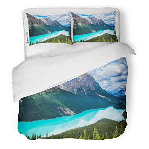 Semtomn Decor Duvet Cover Set Twin Size Blue Peyto Lake of Banff National Park in Canada 3 Piece Brushed Microfiber Fabric Print Bedding Set Cover -