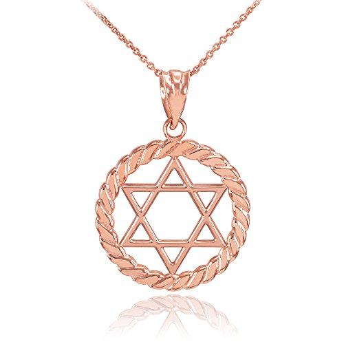 Collier Femme Pendentif 14 Ct Or Rose Juif Étoile De David À Cercle Corde (Livré avec une 45cm Chaîne)