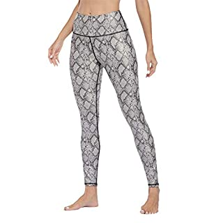 ATTRACO Womens High Waisted Tummy Control Leggings Athletic Gym Workout Yoga Pants(Small, Snake White)