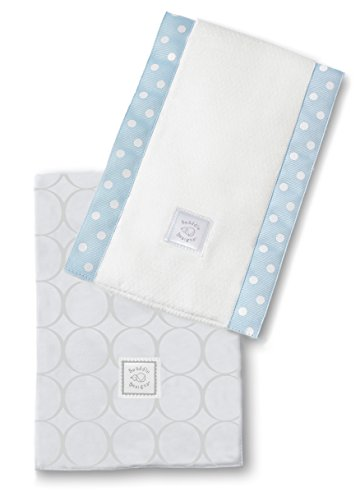 SwaddleDesigns Baby Burpies, Set of 2 Cotton Burp Cloths, Sterling Mod Circles on Sunwashed Blue by SwaddleDesigns
