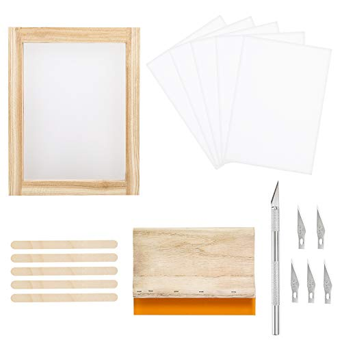 Screen Printing Starter Kits - 18 Pieces Screen Printing Starter Kit Including 8 x 10 Inch Wood Silk Screen Printing Frames, Screen Printing Squeegee,Waterproof Transparency Film, Carving Knife for Stencil Method