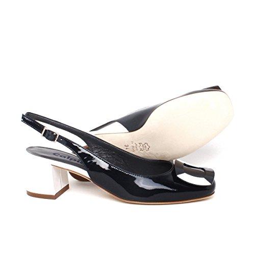 Calpierre Dh105-5059 - Zapatos de vestir de Piel para mujer Blu (Bleu/Bianco)