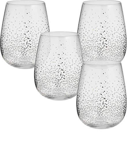 Circleware 76827 Silver Confetti Stemless Wine Glasses, Set of 4 Drinking Glassware for Water, Juice, Beer, Liquor and Best Selling Kitchen & Home Decor Bar Dining Beverage, 18.9 oz