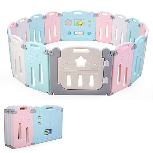 Bamny babybox speelbox Grondbox, voor kinderen Opvouwbare Playpenvan peuter en kind afscherming 10 maanden tot 6 jaar…