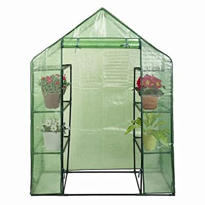 "Goplus Portable Greenhouse 8 Shelves Mini Walk in Outdoor Green House 4 Tier w/PE Cover for Garden Patio Backyard (56"" ×29"" × 77"")"